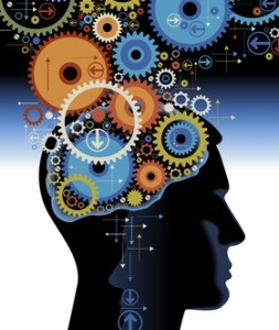 Head and brain gears in progress. concept of human thinking
