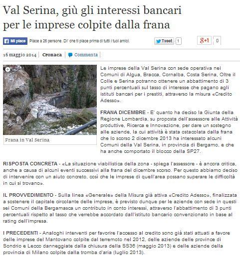 """La Frana sulla strada per Serina: quanto è difficile fare """"impresa"""" (anche sociale) in montagna."""