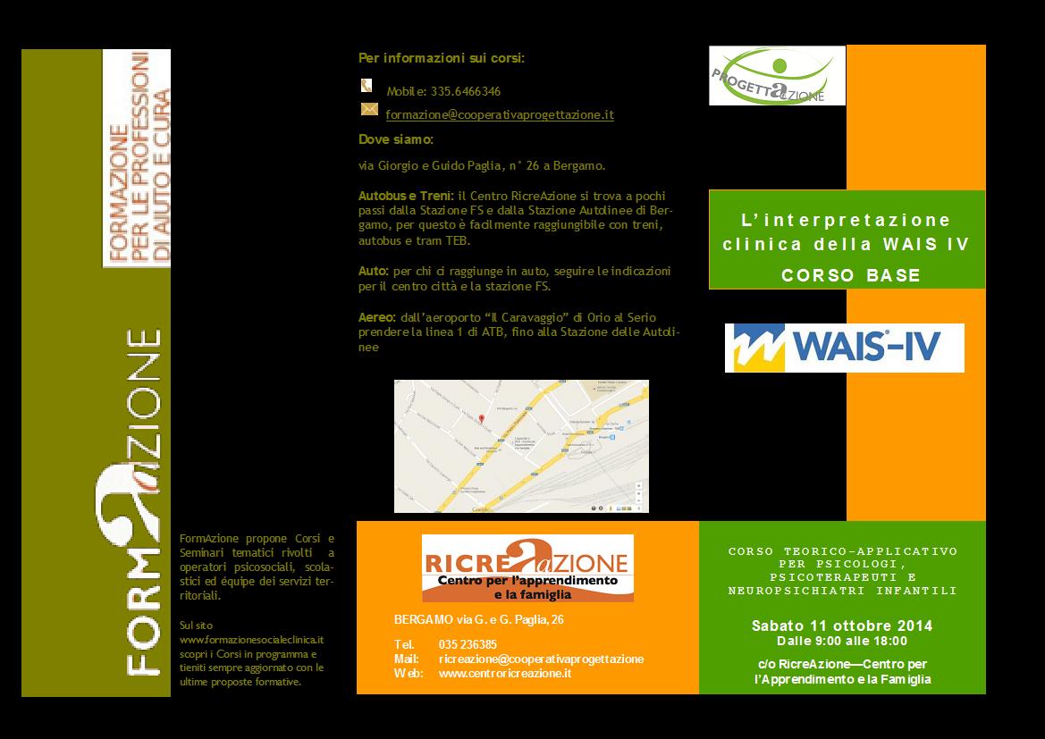 WAIS IV: anche a Bergamo formazione specialistica per le Professioni d'aiuto.