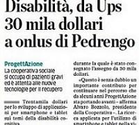 Anche su L'Eco di Bergamo del 2 Agosto, un articolo su Fondazione UPS e Cooperativa ProgettAzione