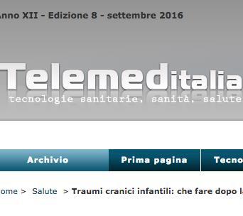 """Anche sul prestigioso sito """"TelemedITALIA , tecnologie sanitarie, sanità e salute"""" un servizio sul tema GCA Minori."""