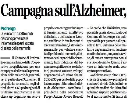 """L'Eco di Bergamo di Domenica 15 ottobre: """"Campagna sull'Alzheimer, in 50 al Check-up cognitivo"""""""