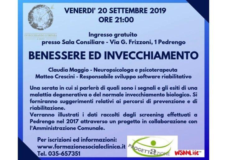 Benessere e invecchiamento, incontro pubblico a  Pedrengo, il 20 Settembre 2019